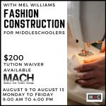 Fashion Construction Camp presented by Manitou Art Center at Manitou Art Center, Manitou Springs CO
