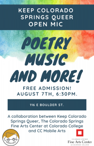 Colorado Springs Queer Open Mic presented by Colorado Springs Fine Arts Center at Colorado College at ,