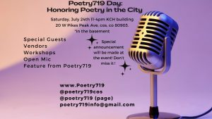Poetry 719 Day: Celebration of Poetry in the Community presented by Poetry 719 at Knights of Columbus Hall, Colorado Springs CO