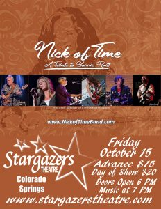 Nick of Time: A Tribute to Bonnie Raitt presented by Stargazers Theatre & Event Center at Stargazers Theatre & Event Center, Colorado Springs CO