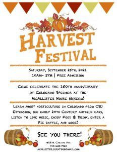 Harvest Festival presented by McAllister House Museum at McAllister House Museum, Colorado Springs CO