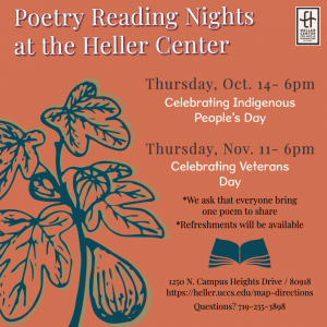 Poetry Readings: Indigenous Peoples' Day presented by Heller Center for Arts and Humanities at UCCS at UCCS - The Heller Center, Colorado Springs CO