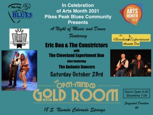 Eric Boa & The Constrictors presented by Pikes Peak Blues Community at The Gold Room, Colorado Springs CO