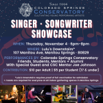 Singer/Songwriter Showcase presented by Colorado Springs Conservatory at Lulu's Downstairs, Manitou Springs CO