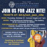 Jazz Nite presented by Colorado Springs Conservatory at Warehouse Restaurant & Gallery, Colorado Springs CO