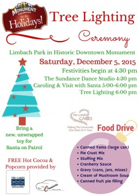 Monument Tree Lighting presented by Monument Tree Lighting at Limbach Park, Monument CO
